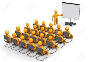 16614791-Orange-cartoon-characters-sit-in-on-a-lecture--Stock-Photo