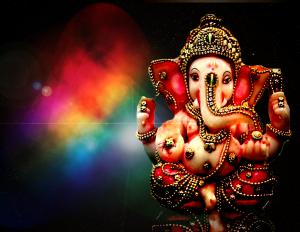 Ganapati-Ganesh in Space Lighten Background Wallpaper - 1366x768